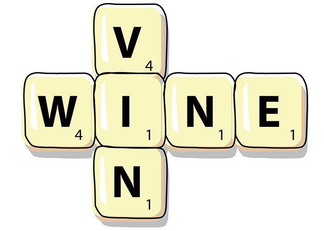 Scrabble letters spelling the word wine