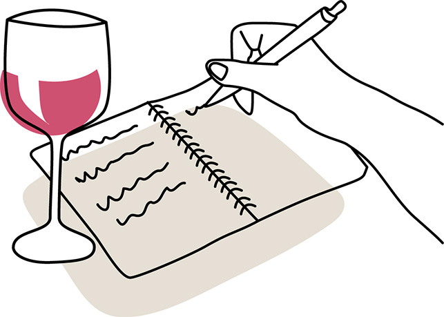 Illustration of content writer with a glass of wine